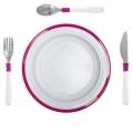 Kinderbord met kleuterbestek roze