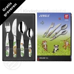 Jungle kinderbestek kleur 4-delig